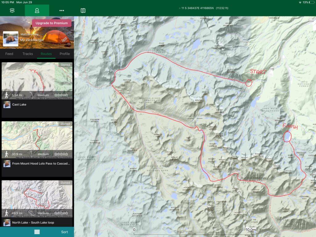 ViewRanger map of North Lake South Lake route