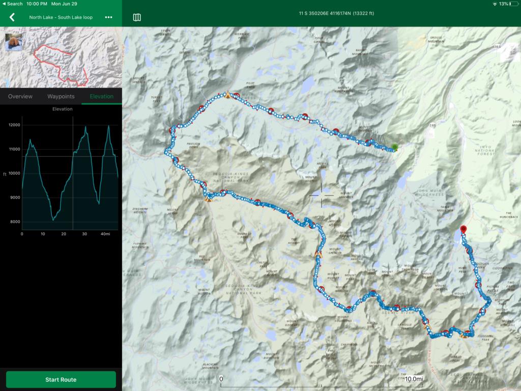 ViewRanger route plotted of North Lake South Lake Loop