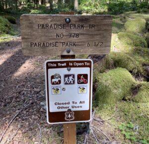 Paradise Park trailhead sign